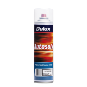 Image of a spraycan of a Dulux Autosolv Lacquer Clear