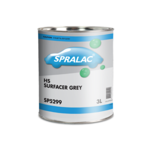 Image of a tin of Spralac 5299 HS Surfacer Grey 3 Litre