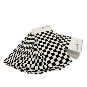 image of debeer blakc and white check sprayout cards